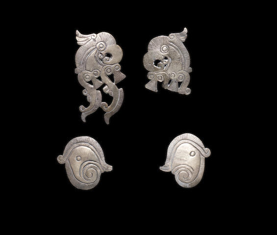 Four Thracian Eurasian silver horse harness ornaments  4