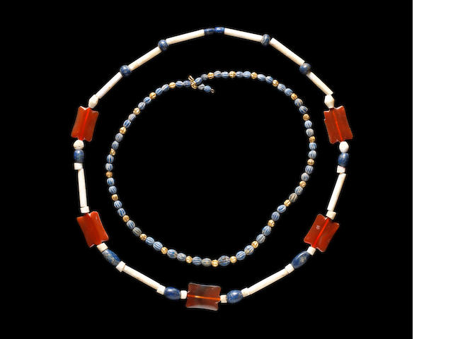 A Roman glass and gold bead necklace and a Western Asiatic bead necklace, 2