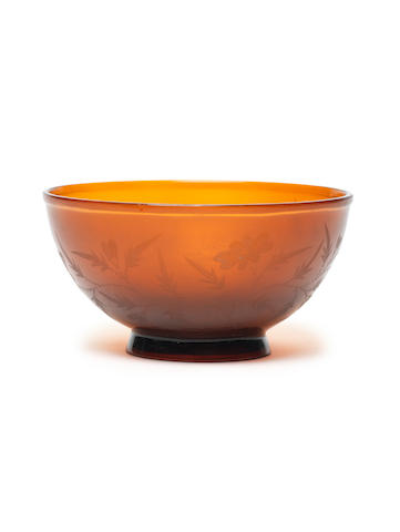A Beijing translucent amber glass bowl Incised Jiaqing four-character mark and of the period