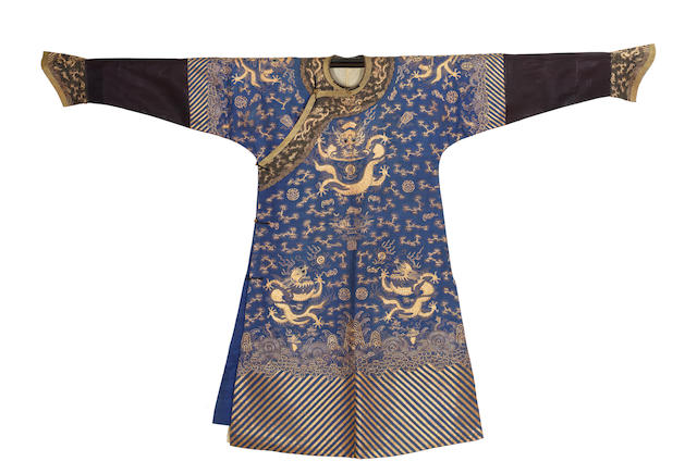 A gold-embroidered blue silk 'nine dragon' robe 19th century