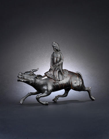 Bronze incense burner, immortal and buffalo