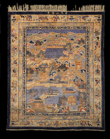 A woven silk rectangular hanging carpet depicting the Summer Palace Qing Dynasty
