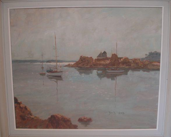 David Cobb (British, 1921)Yachts In An Inlet, signed, oil on canvas, 50 x 60cm, and another by John Eighteen - Racing Yacht, signed, oil on canvas, 45 x 60cm.  (2)