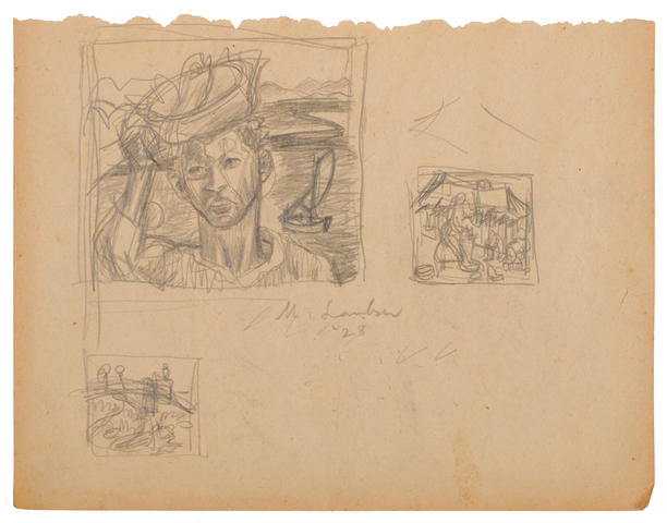 Maggie (Maria Magdalena) Laubser (South African, 1886-1973) A folio of preparatory sketches and figure studies 21 x 28cm (8 1/4 x 11in). 25 sheets in total, loose, many double-sided
