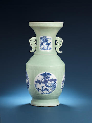 A large blue and white green-glazed vase Late 19th/early 20th century