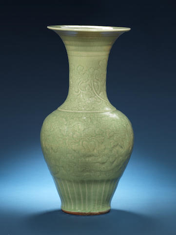 A large green-glazed baluster trumpet-necked vase 15th/16th century