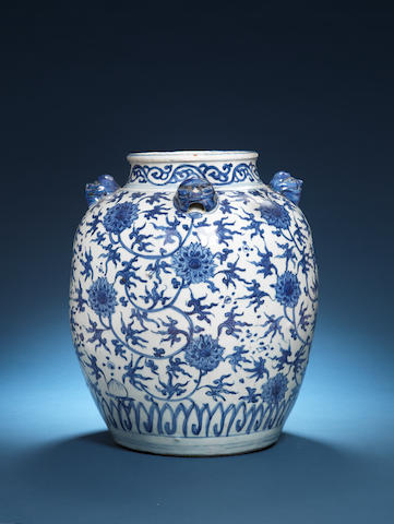 A large blue and white oviform jar Wanli