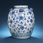 A large blue and white oviform vase Wanli