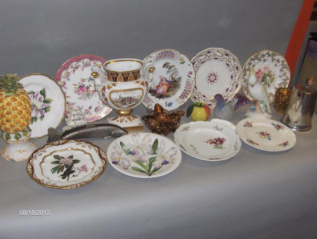 A Meissen flower painted plate, a Bloor Derby plate and a Worcester plate,