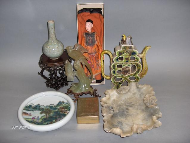 A Chinese character doll, a pierced slab teapot together with a small crackleware bottle vase and a stand, a jade bird figure group,and three other items.(7)