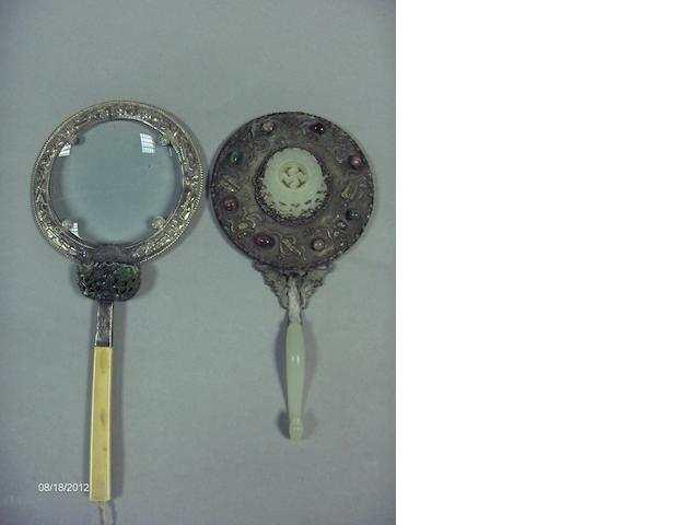 A Chinese silver metal and jade mounted magnifying glass