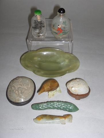 A Chinese green jade lobed dish