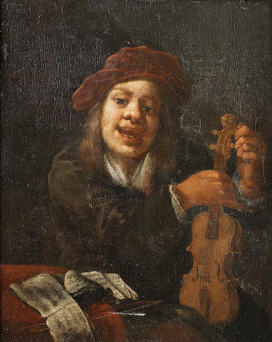 Circle of Lambert Doomer (Amsterdam 1623-1700) Portrait of a young boy tuning a violin