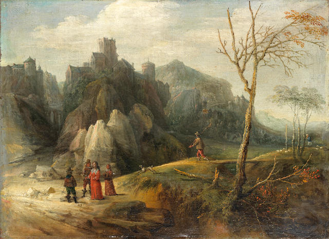 Attributed to Jan Tilens (Antwerp 1589-1630) Figures conversing in a mountainous landscape, a walled city in the distance