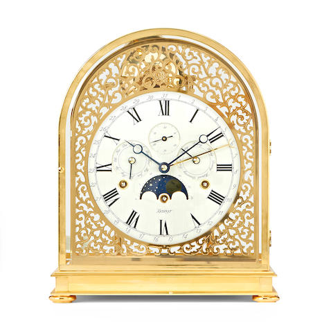A modern quarter chiming mantel clock with moonphase and calendar Kieninger