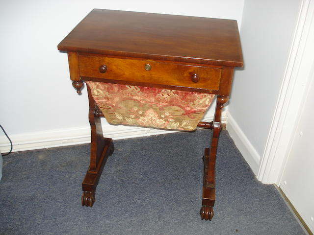 An early Victorian mahogany work table
