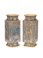 a pair of cloisonne enamel square vases - 20th century