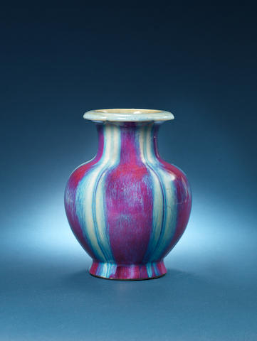 A rare flambé-glazed lobed oviform vase Impressed Jiaqing seal mark and of the period