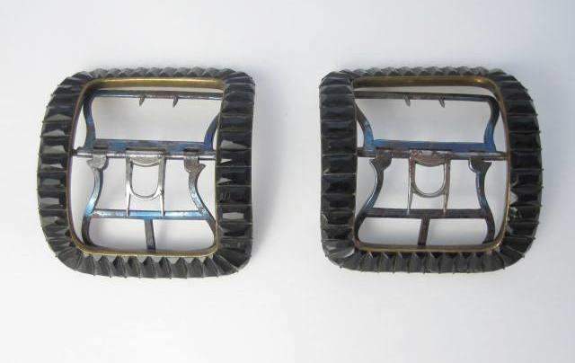An 18th century pair of black paste buckles
