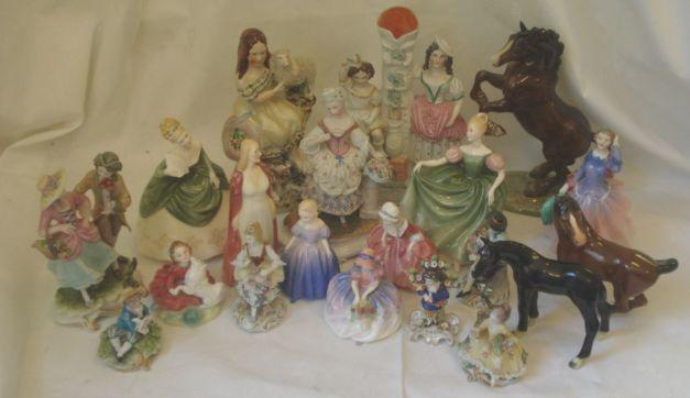 A collection of Royal Doulton figures, to include: 'Soiree', HN 2312; 'Home Again', HN 2167; 'Blithe Morning', HN 2021; 'Colette', HN 1999; 'Monica', HN 1467; 'Michele', HN 2234; 'Goody Two Shoes', HN 2057, firing crack; 'Maria' HN 1370; two Staffordshire figures, Capo di Monte figures and three horse figures.