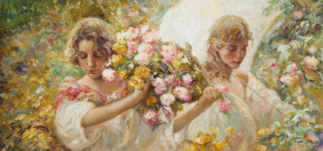 Jose Royo (Spanish, born 1941) Two Girls With Parasol 59 x 124cm.