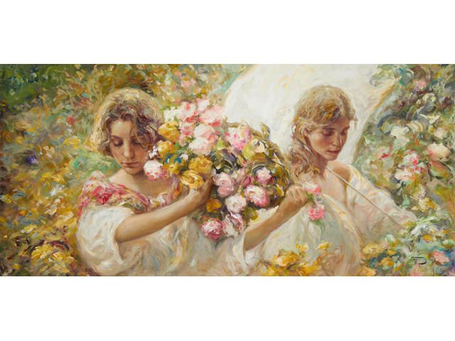 Jose Royo (Spanish, born 1941) Two young women with a basket of flowers and a parasol