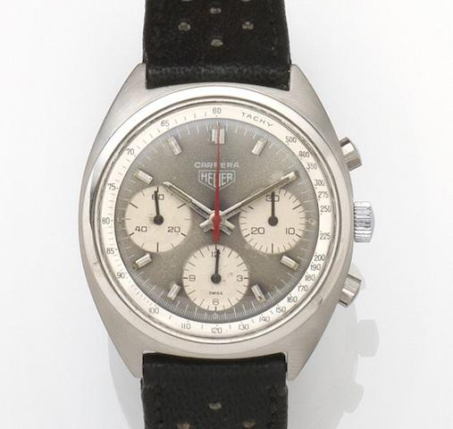Heuer. A stainless steel manual wind chronograph wristwatchCarrera, Ref:73653 S, Case No.155554, Circa 1971