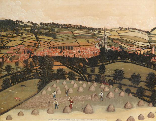English Provincial School, 19th century A bird's eye view of Grantham