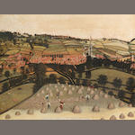 English Provincial School, 19th century A bird's eye view of Grantham