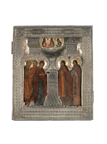 The Miraculous Appearance of the Mother of God to Saint Sergei Radonezhsky with the Old Testament Trinity Russia, maker's mark Cyrillic AP, 1836***CHECK CATALOGUING WITH PETER***