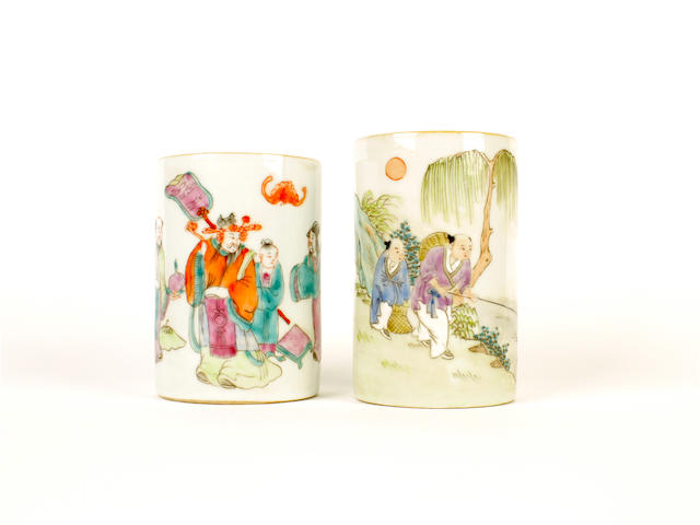 Two famille rose brushpots, bitong