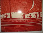 A William de Morgan three tile ruby lustre galleon panel Circa 1880