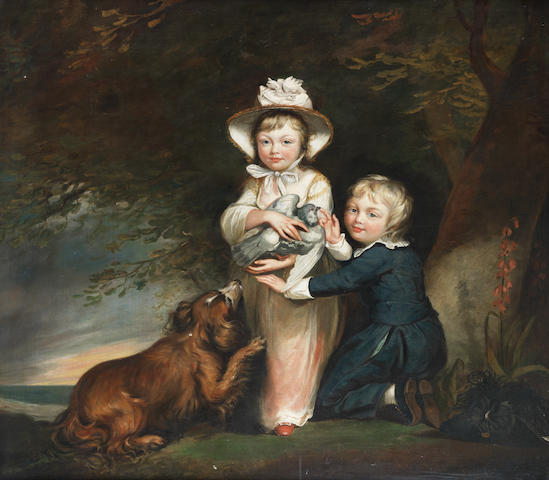 James Northcote (Plymouth 1746-1831 ?) The Children of Captain McBride, in a wooded landscape