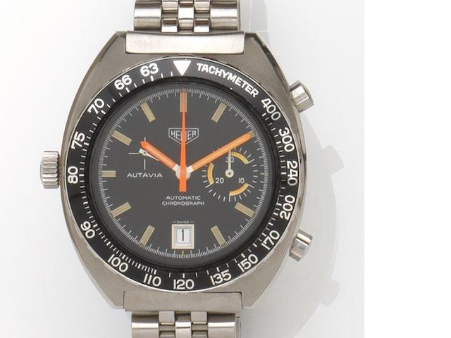 Heuer. A stainless steel automatic chronograph bracelet watch Autavia, Ref:15630 T, Case No.291632, Circa 1972