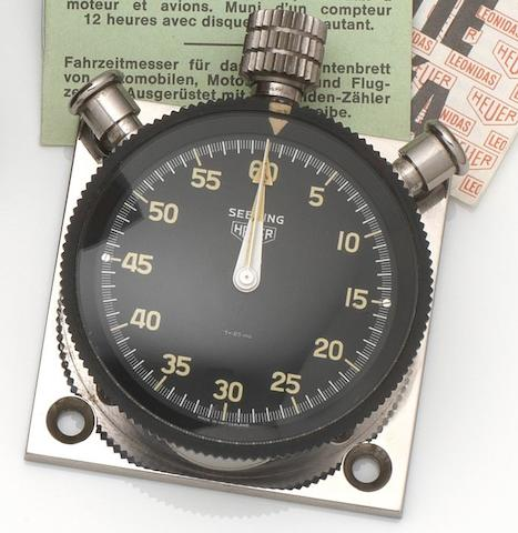 Heuer. A stainless steel split second dashboard stopwatch with box and papers Sebring, Case No.7430, Circa 1968