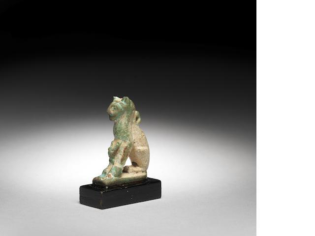 Egyptian glazed composition cat amulet