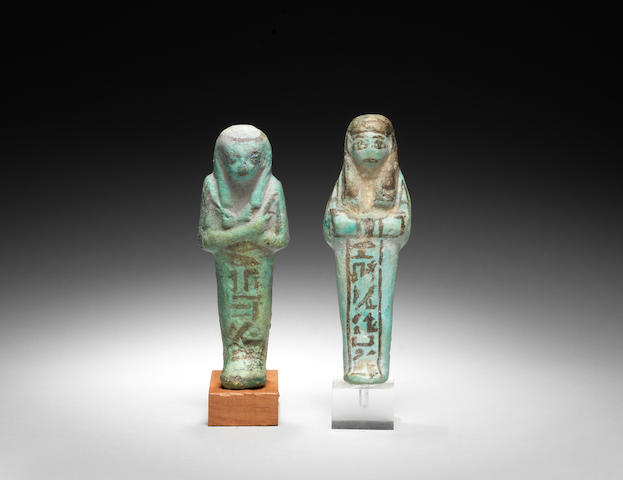 Two Egyptian turquoise glazed composition shabtis