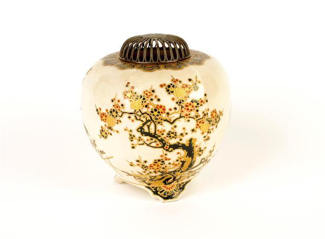 A Japanese Satsuma earthenware vase, Meiji period