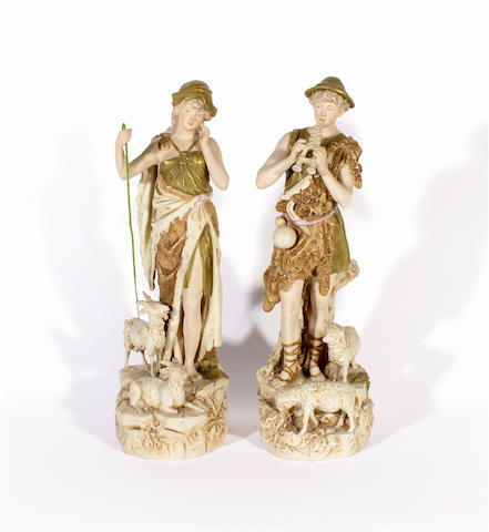 A pair of Royal Dux figures, circa 1900
