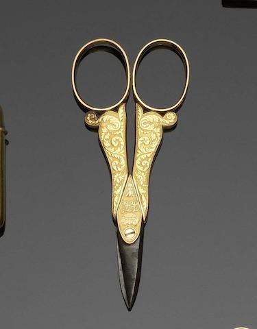 A pair of early 19th century French  gold mounted scissors  by Antoine Beauvisage, Paris