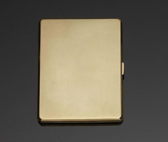 A 9 carat gold cigarette case by Adie Bros Ltd, Birmingham 1948