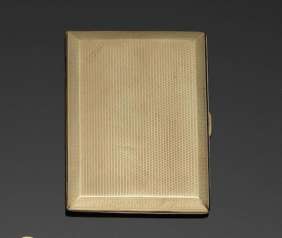 A 9 carat gold cigarette case by Turner & Simpson Ltd, Birmingham 1929