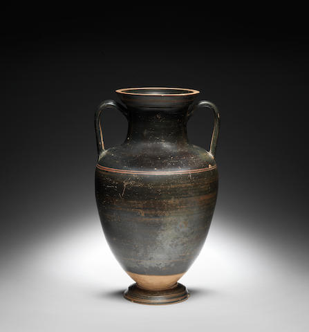A Laconian black-glazed pottery neck amphora