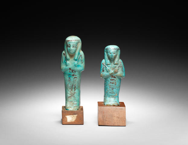 Two Egyptian turquoise glazed composition shabtis 2