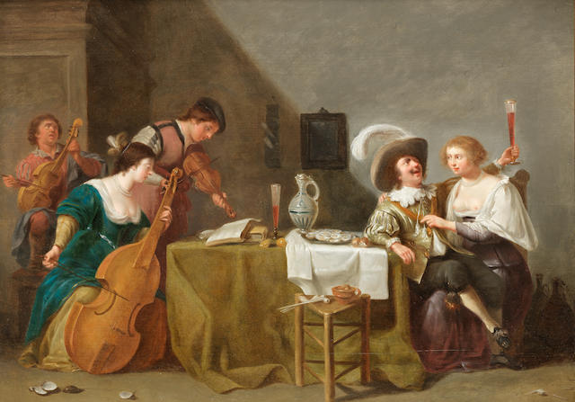 Jan van Bijlert (Utrecht circa 1597-1671) A merry company making music in an interior