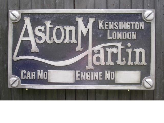 An Aston Martin chassis plate garage display emblem,
