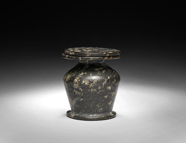 An Egyptian serpentine lidded kohl jar