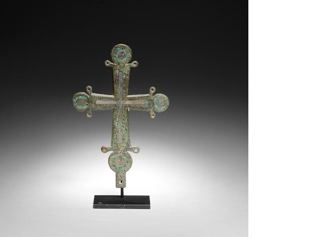 A Byzantine bronze processional cross