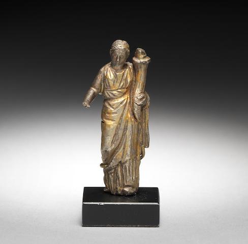 A Roman gilt silver statuette of Fortuna