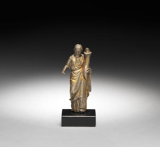 A Roman gilt silver statuette of Fortuna
